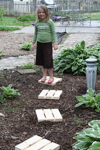 Garden Stepping Stones Home Depot The wool food mama wood garden stepping stones diy harvest scrap wood from a previous project or have the dude at home depot cut down a bunch of 1x4s into 12 inch lengths workwithnaturefo